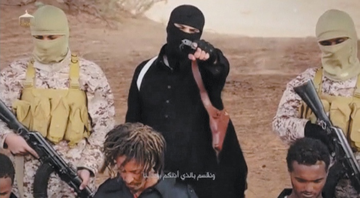 A still from the video released by ISIS on April 19, which appears to show the execution of Ethiopian Christians by members of Wilayat Fazzan, another affiliate of ISIS, in southern Libya