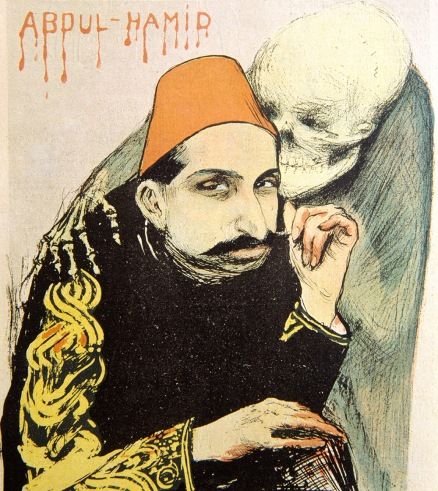 Sultan Abdul Hamid II, Ottoman Sultan of Turkey as Sick Man of Europe. Cover of French Satirical Magazine, 'Le Rire', May 1897